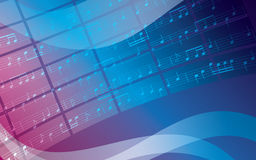 Blue vector background with music notes Stock Photos