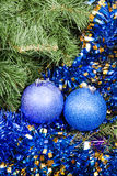 Blue violet Christmas baubles, tinsel, Xmas tree 7 Royalty Free Stock Photos