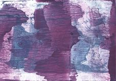 Blue violet clouded wash drawing paper. Hand-drawn abstract watercolor texture. Used contrasting and transient colors Stock Image
