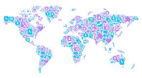 Blue and violet concept of World map. World Map concept. Made of 100 icons set in blue and violet colors royalty free illustration