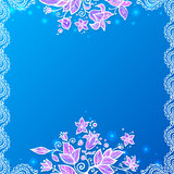 Blue and violet doodle flowers card Royalty Free Stock Photography