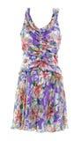 Blue violet flower silk dress Royalty Free Stock Image
