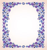 Blue violet flowers frame  Royalty Free Stock Image