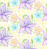 Blue and violet flowers seamless vector pattern Royalty Free Stock Photos
