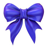 Blue, violet glossy ribbon bow. 3D Stock Photo