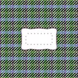 Blue violet green checkered texture with etiquette Royalty Free Stock Photos