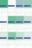 Blue violet and green haze colored geometric patterns calendar 2016 Stock Images