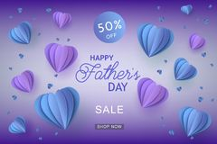 Blue and violet heart shapes in paper art and sign on gradient background for Fathers Day special offer banner. Blue and violet heart shapes in paper art and royalty free illustration