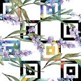 Blue violet lavender floral botanical flowers. Watercolor background illustration set. Seamless background pattern. royalty free illustration
