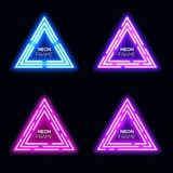 Blue violet neon light triangles set. Techno frame. Blue violet purple pink neon light triangles set. Shining techno frame collection. Night club 3d banners on Stock Images