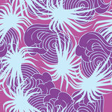 Blue and violet palms and waves summer seamless pa. Seamless summer pattern vector illustration of blue and violet palms and waves royalty free illustration