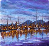 Blue violet sunset over island of bay. Niight orange city is reflected in calm water. Yachts are white on dock. Original oil painting Blue violet sunset over Stock Photos