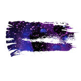 Blue and violet watercolor brush strokes. With space for your own text. Wet brush stroke on paper texture. Dry brush strokes. Abstract composition for design stock illustration