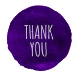 Blue, violet watercolor circle with words thank you isolated on a white background. Royalty Free Stock Image