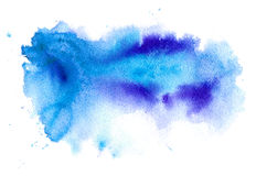 Blue and violet watery illustration. Abstract watercolor hand drawn image.Azure splash.White background Royalty Free Stock Photo