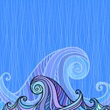 Blue and violet waves background Stock Image