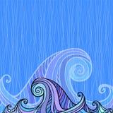 Blue and violet waves background Stock Image