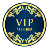 Blue VIP member badge with golden vintage pattern Royalty Free Stock Image