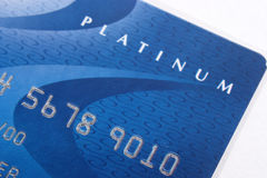 Blue Visa Credit Card. Platinum blue visa credit card closeup Royalty Free Stock Photography