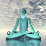 Blue vishuddhi, vishuddha or throat chakra meditation - 3D render Stock Images