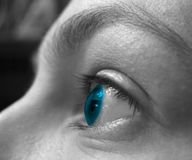 Blue vision 2. Eye closeup in duotone. Woman wearing contact lenses Stock Photo