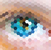 Blue Vision. Vector hexagon pattern background with a blue eye shape Royalty Free Stock Photo