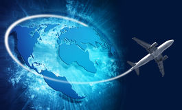 Blue vivid image of globe and travel airplane Stock Image