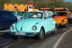 Blue Volkswagen Beetle 1300 Convertible - the participant of parade of vintage transport in Kronstadt Stock Photo