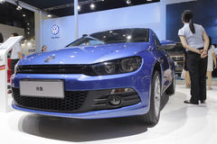 Blue volkswagen scirocco car Royalty Free Stock Images