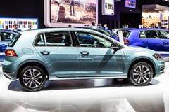 Blue Volkswagen VW Golf, Brussels Motor Show, Seventh generation, MK7, MQB platform, Typ 5G, produced by Volkswagen Group