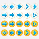 Blue volumetric arrows. Arrow sign icon set. Blue volumetric vector arrows (collection). Different styles. Colorful arrow signs icon set Stock Photos