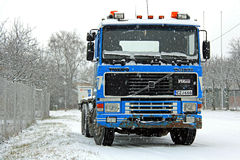 Blue Volvo F16 Truck in Snowfall Stock Photos