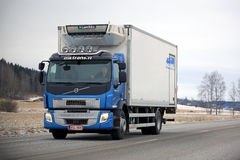 Blue Volvo FE Reefer Truck on the Road stock photography