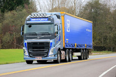 Blue Volvo FH Semi Truck on the Road Royalty Free Stock Image