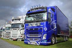 Blue Volvo FH Show Truck on Display Royalty Free Stock Images