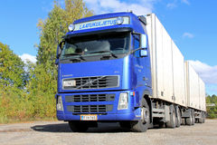 Blue Volvo FH Truck with Full Trailer Stock Photos