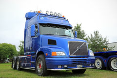 Blue Volvo NH12 Truck year 2002 in Power Truck Show. ALAHARMA, FINLAND - AUGUST 7, 2015: Blue Volvo NH12 truck tractor year 2002 in Power Truck Show 2015 stock images