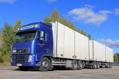 Blue Volvo Truck with Full Trailer Royalty Free Stock Photos