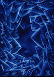 Blue Vortex. Blue spiky abstract image leading to another place - from an encaustic origianal by FT Swan stock illustration