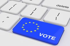 Blue Vote Key with European Flag on a White PC Keyboard. 3d Rendering royalty free stock photos