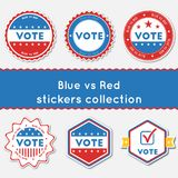 Blue vs Red stickers collection. Buttons set for USA presidential elections 2016. Collection of blue and red patriotic badges. Round tokens vector illustration Royalty Free Illustration