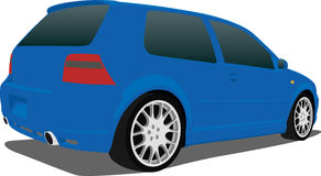Blue VW GTI. A Vector .eps illustration of a VW GTI hatchback. Saved in layers for easy editing. See my portfolio for more automotive images royalty free illustration
