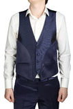 Blue waistcoat for men over white shirt without tie Stock Photos