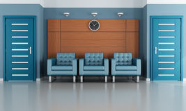 Blue waiting room Stock Image