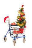 Blue walker with Christmas tree and gifts Royalty Free Stock Photography