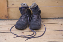 Blue Walking Boots Royalty Free Stock Photo
