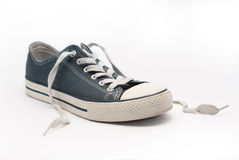 Blue walking shoe Royalty Free Stock Image