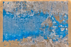 Blue Wall. An Old Blue Wall with Beige Frame stock images