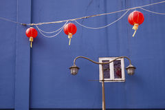 Blue Wall And Lanterns Royalty Free Stock Photography