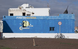 Blue wall and bycycle Fuerteventura Stock Image